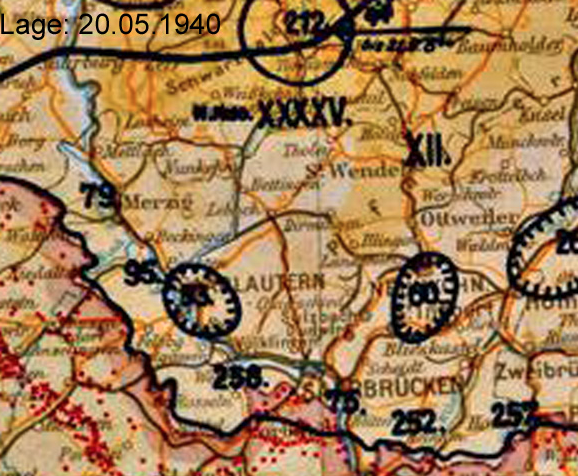 Photo credit: to http://www.lexikon-der-wehrmacht.de/Gliederungen/Korps/Karte/XII0540-3.jpg, Situation map dated 20.May.1940, showing the location of the respective Infantry Division of the  German Wehrmacht including the 95th. Inf. Div.